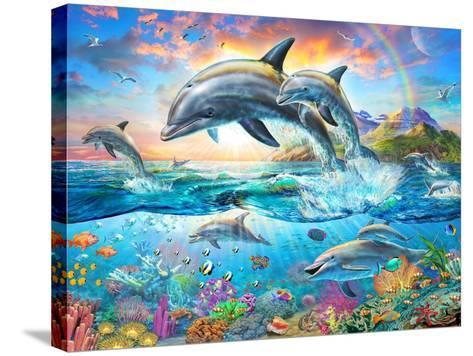 Dolphin Family-Adrian Chesterman-Stretched Canvas Print