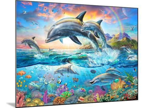 Dolphin Family-Adrian Chesterman-Mounted Art Print