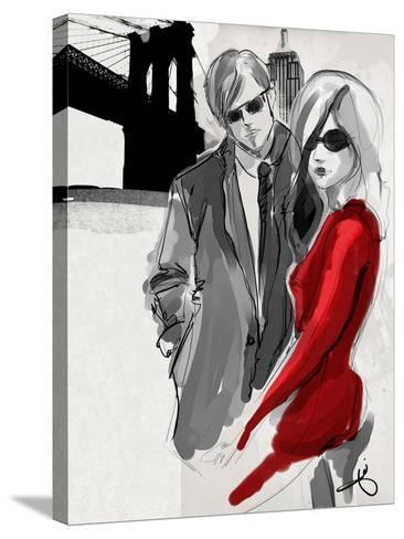 Brooklyn Couple Red Dress-Jodi Pedri-Stretched Canvas Print