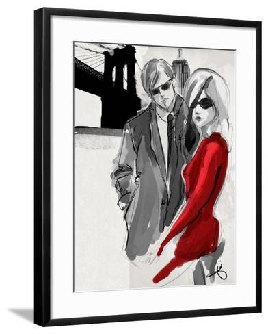 Brooklyn Couple Red Dress-Jodi Pedri-Framed Art Print