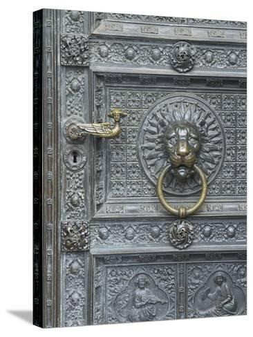 Cologne Lions Head Door-George Johnson-Stretched Canvas Print