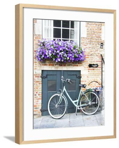 Brugge Door and Bicycle-George Johnson-Framed Art Print