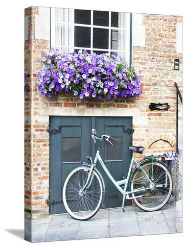 Brugge Door and Bicycle-George Johnson-Stretched Canvas Print