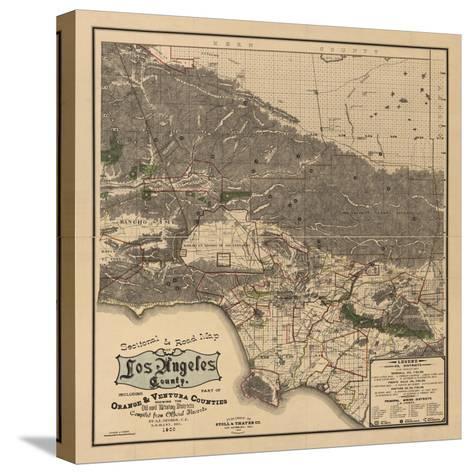 1900 LA Road Map-N^ Harbick-Stretched Canvas Print