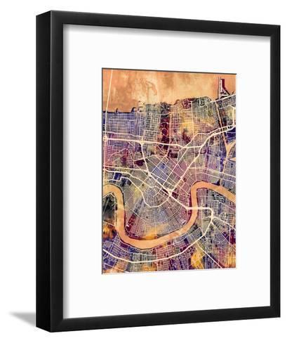 New Orleans Street Map-Michael Tompsett-Framed Art Print