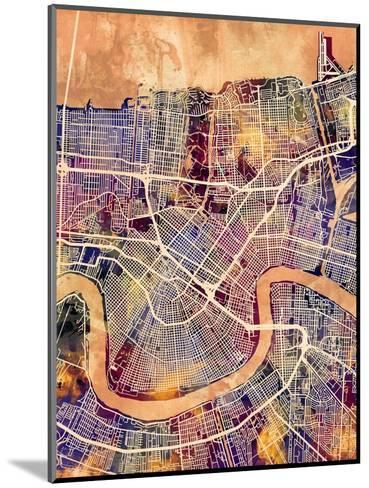 New Orleans Street Map-Michael Tompsett-Mounted Art Print