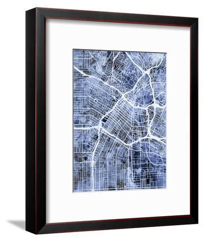 Los Angeles City Street Map-Michael Tompsett-Framed Art Print