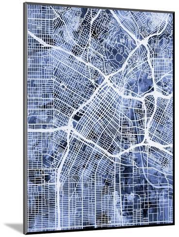 Los Angeles City Street Map-Michael Tompsett-Mounted Art Print