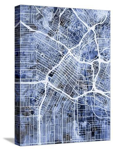 Los Angeles City Street Map-Michael Tompsett-Stretched Canvas Print