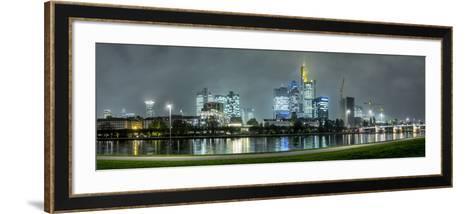 Germany, Hesse, Frankfurt Am Main, Riverside Promenade at the Main with the Skyline at Dusk-Bernd Wittelsbach-Framed Art Print