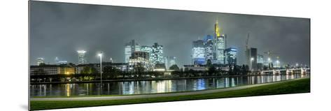 Germany, Hesse, Frankfurt Am Main, Riverside Promenade at the Main with the Skyline at Dusk-Bernd Wittelsbach-Mounted Photographic Print