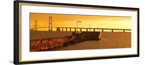 Denmark, Funen, Great Belt Bridge, Sunset-Chris Seba-Framed Art Print