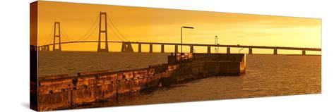 Denmark, Funen, Great Belt Bridge, Sunset-Chris Seba-Stretched Canvas Print