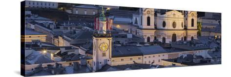 City Centre from Kapuzinerberg, Collegiate Church, Salzburg, Austria-Rainer Mirau-Stretched Canvas Print