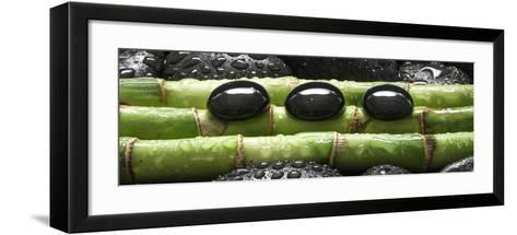 Black Stones on Bamboo-Uwe Merkel-Framed Art Print