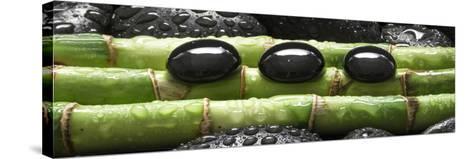 Black Stones on Bamboo-Uwe Merkel-Stretched Canvas Print