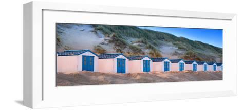 Netherlands, Holland, on the West Frisian Island of Texel, North Holland, Huts on the Beach-Beate Margraf-Framed Art Print