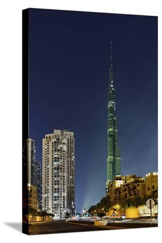 Burj Khalifa, the Highest Tower of the World, Night Photography-Axel Schmies-Stretched Canvas Print