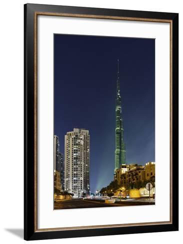 Burj Khalifa, the Highest Tower of the World, Night Photography-Axel Schmies-Framed Art Print
