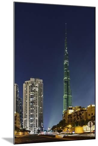 Burj Khalifa, the Highest Tower of the World, Night Photography-Axel Schmies-Mounted Photographic Print