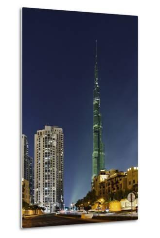 Burj Khalifa, the Highest Tower of the World, Night Photography-Axel Schmies-Metal Print