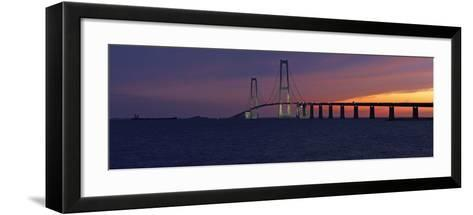 Denmark, Funen, Great Belt Bridge, Dusk-Chris Seba-Framed Art Print