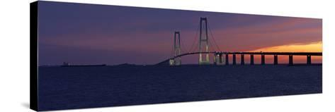 Denmark, Funen, Great Belt Bridge, Dusk-Chris Seba-Stretched Canvas Print