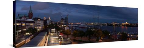 Hamburg, Panorama, Landing Stages, in the Evening-Catharina Lux-Stretched Canvas Print