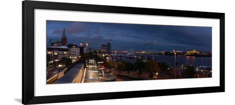 Hamburg, Panorama, Landing Stages, in the Evening-Catharina Lux-Framed Art Print