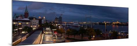 Hamburg, Panorama, Landing Stages, in the Evening-Catharina Lux-Mounted Photographic Print