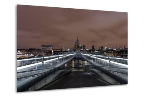 Millenium Bridge, Night Photography, St. Paul's Cathedral, the Thames, London-Axel Schmies-Metal Print