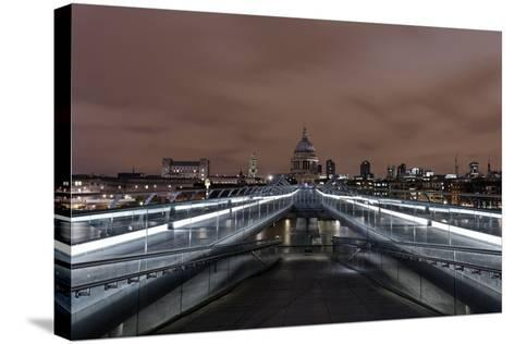 Millenium Bridge, Night Photography, St. Paul's Cathedral, the Thames, London-Axel Schmies-Stretched Canvas Print