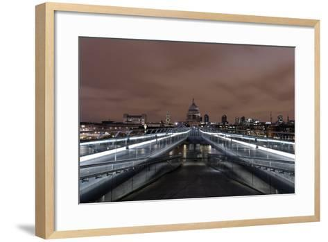 Millenium Bridge, Night Photography, St. Paul's Cathedral, the Thames, London-Axel Schmies-Framed Art Print