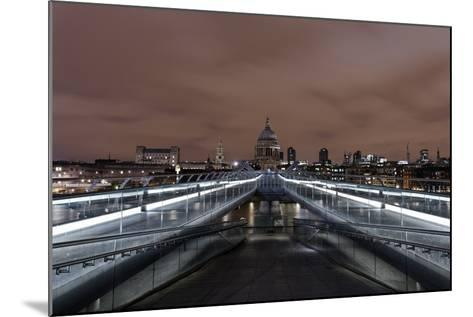 Millenium Bridge, Night Photography, St. Paul's Cathedral, the Thames, London-Axel Schmies-Mounted Photographic Print
