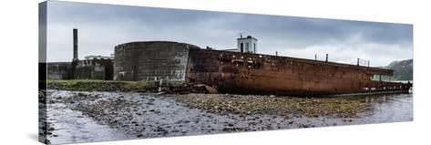 Panorama, Iceland, Djupavik, Former Fish Factory and Ship Wreck-Catharina Lux-Stretched Canvas Print