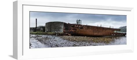 Panorama, Iceland, Djupavik, Former Fish Factory and Ship Wreck-Catharina Lux-Framed Art Print