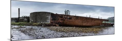 Panorama, Iceland, Djupavik, Former Fish Factory and Ship Wreck-Catharina Lux-Mounted Photographic Print