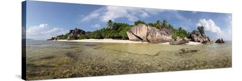 The Seychelles, La Digue, Beach, Rocks, Anse Source D' Argent, Panorama-Catharina Lux-Stretched Canvas Print