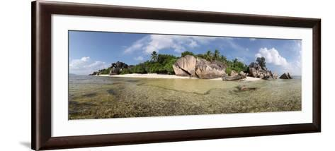 The Seychelles, La Digue, Beach, Rocks, Anse Source D' Argent, Panorama-Catharina Lux-Framed Art Print
