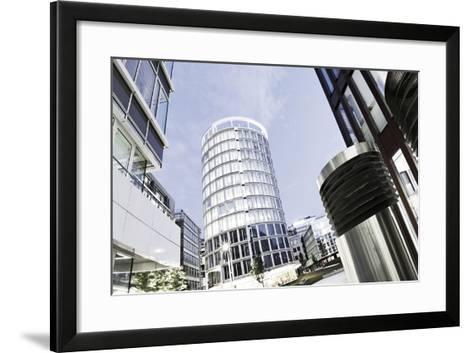 Modern Architecture, Wide Angle, Coffee Plaza, Hafencity, Hanseatic City of Hamburg, Germany-Axel Schmies-Framed Art Print