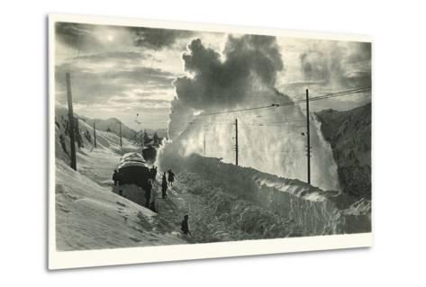 Postcard, Historical, Berninabahn, Winter, Snow Blower, B/W- Starfoto-Metal Print