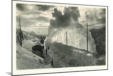 Postcard, Historical, Berninabahn, Winter, Snow Blower, B/W- Starfoto-Mounted Photographic Print