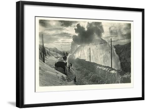 Postcard, Historical, Berninabahn, Winter, Snow Blower, B/W- Starfoto-Framed Art Print