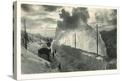 Postcard, Historical, Berninabahn, Winter, Snow Blower, B/W- Starfoto-Stretched Canvas Print