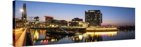 DŸsseldorf, North Rhine-Westphalia, Panorama of the Media Harbour with Hyatt Hotel-Bernd Wittelsbach-Stretched Canvas Print