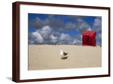 Red Beach Chair in the Dunes, Gull-Uwe Steffens-Framed Art Print