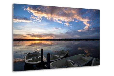 Sunset at the Federsee Near Bad Buchau, Baden-WŸrttemberg, Germany, Rowing Boat in the Lake-Markus Leser-Metal Print