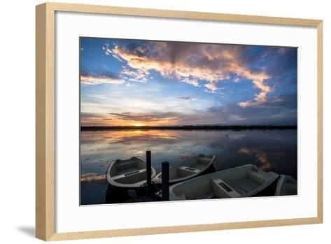 Sunset at the Federsee Near Bad Buchau, Baden-WŸrttemberg, Germany, Rowing Boat in the Lake-Markus Leser-Framed Art Print