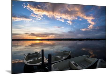 Sunset at the Federsee Near Bad Buchau, Baden-WŸrttemberg, Germany, Rowing Boat in the Lake-Markus Leser-Mounted Photographic Print
