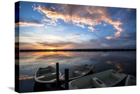 Sunset at the Federsee Near Bad Buchau, Baden-WŸrttemberg, Germany, Rowing Boat in the Lake-Markus Leser-Stretched Canvas Print
